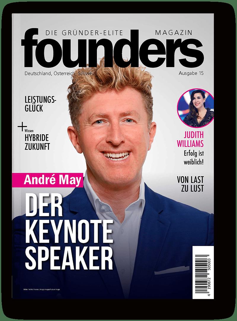 Andre May auf dem Titel des Founders Magazins